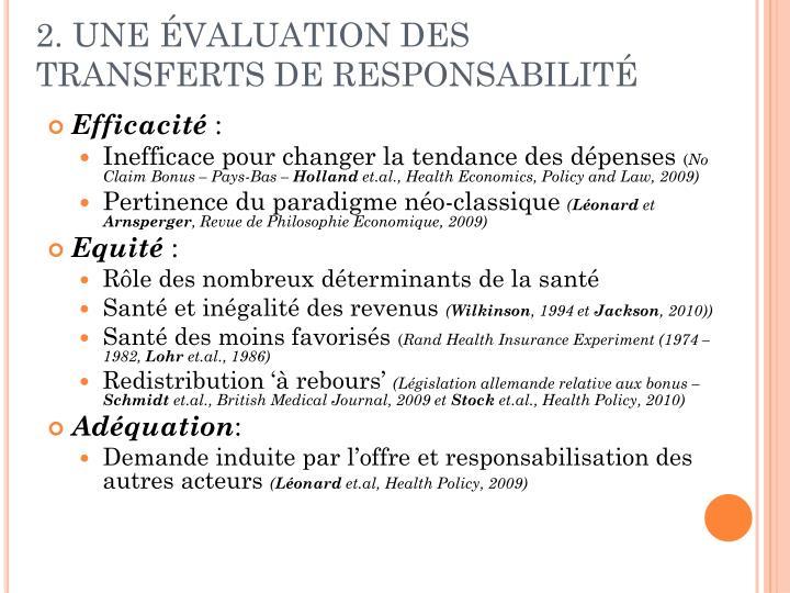 2. UNE ÉVALUATION DES TRANSFERTS DE RESPONSABILITÉ