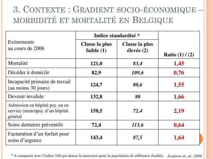 3. Contexte : Gradient socio-économique – morbidité et mortalité en Belgique