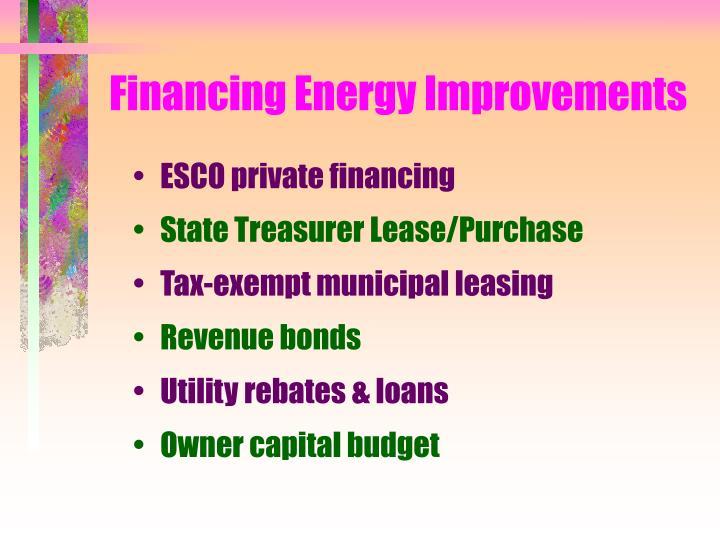 Financing Energy Improvements