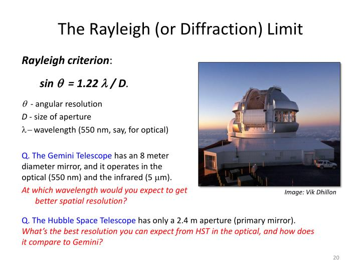 The Rayleigh (or Diffraction) Limit