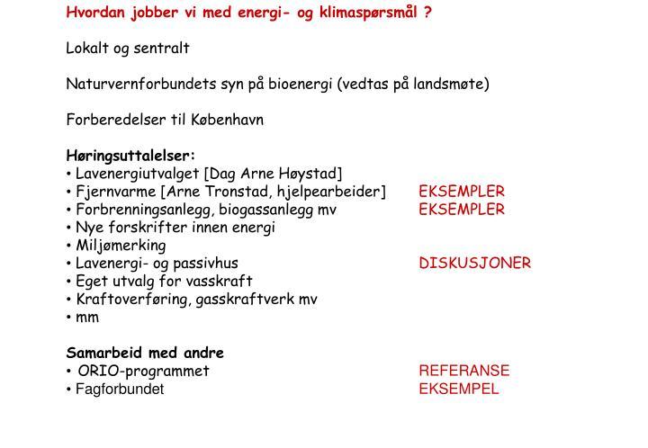 Hvordan jobber vi med energi- og klimaspørsmål ?