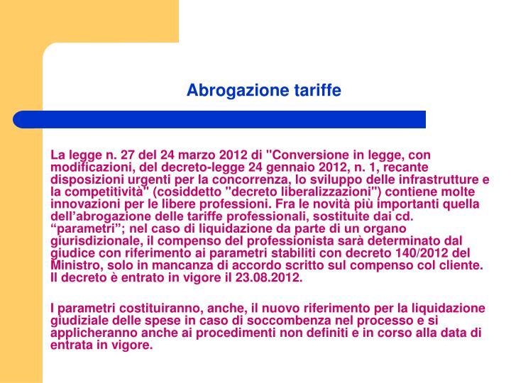 Abrogazione tariffe