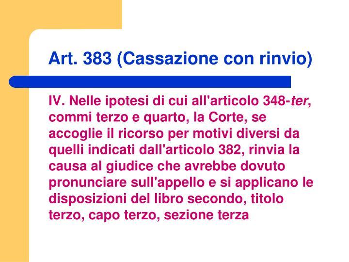Art. 383 (Cassazione con rinvio)