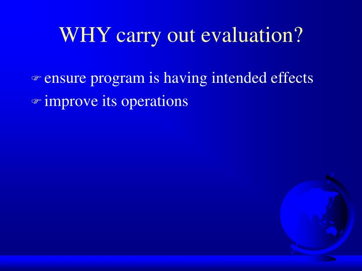 WHY carry out evaluation?