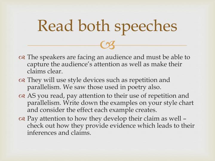 Read both speeches