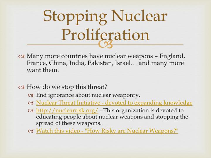 Stopping Nuclear Proliferation