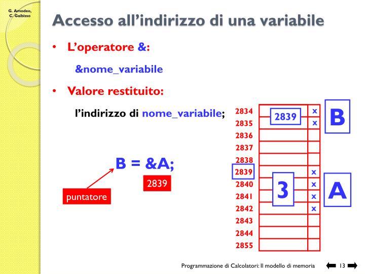 Accesso all'indirizzo di una variabile