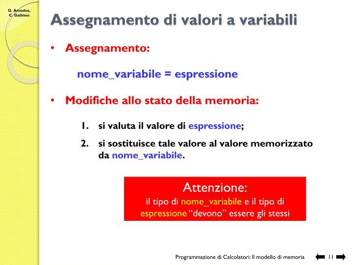 Assegnamento di valori a variabili