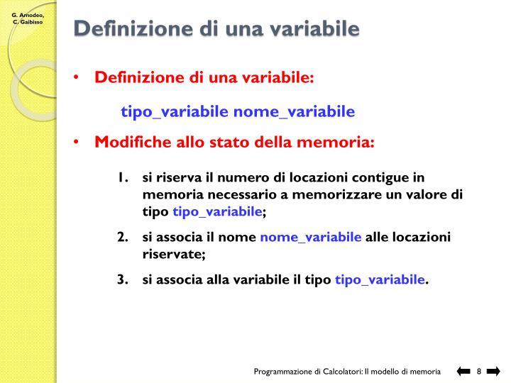 Definizione di una variabile