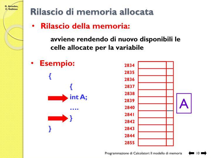Rilascio di memoria allocata