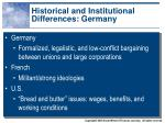 historical and institutional differences germany