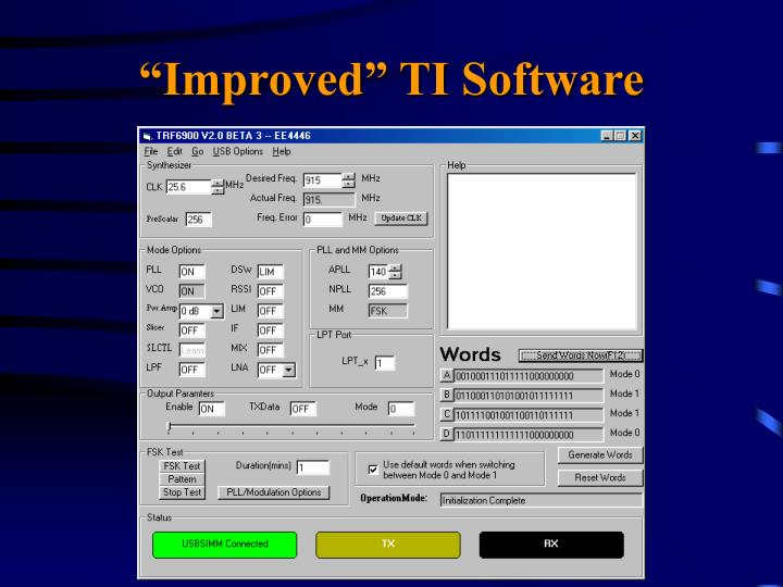 """""""Improved"""" TI Software"""