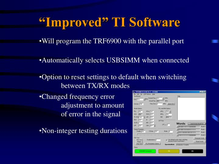 Will program the TRF6900 with the parallel port