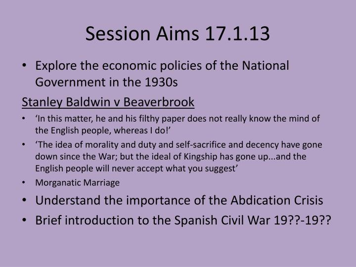 Session aims 17 1 13