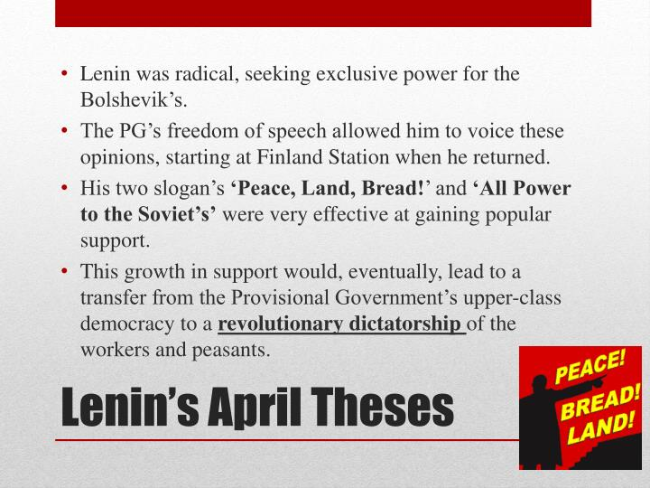 Lenin was radical, seeking exclusive power for the Bolshevik's.