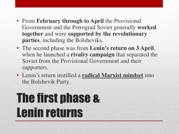 The first phase lenin returns