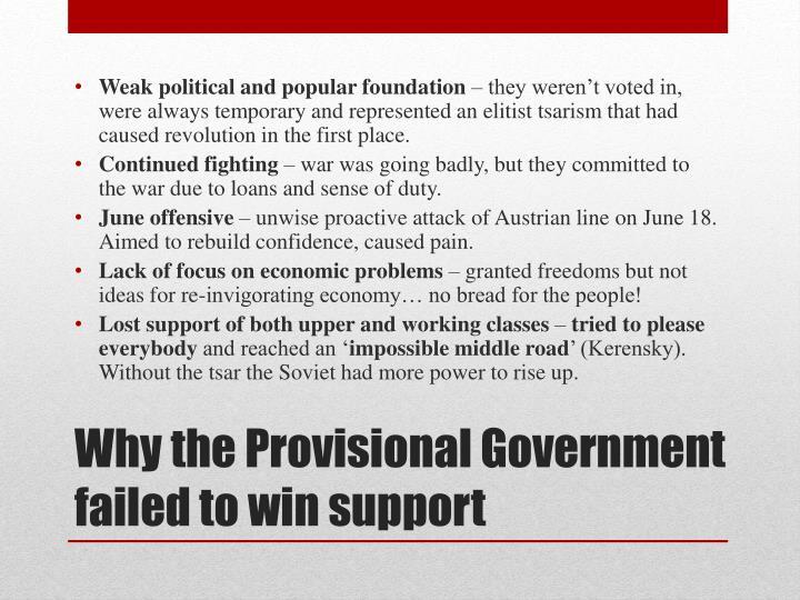 Weak political and popular foundation