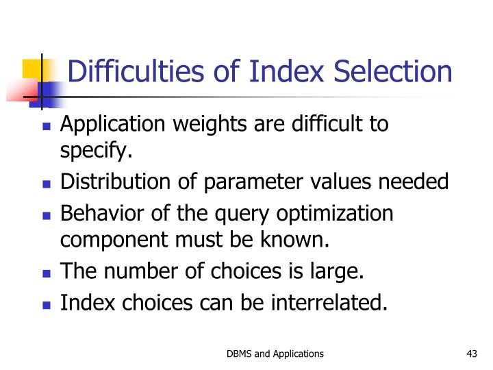 Difficulties of Index Selection