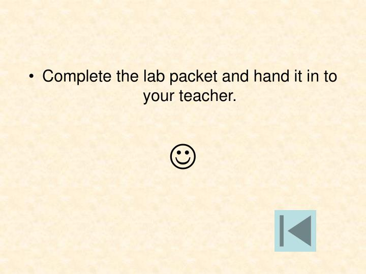 Complete the lab packet and hand it in to your teacher.