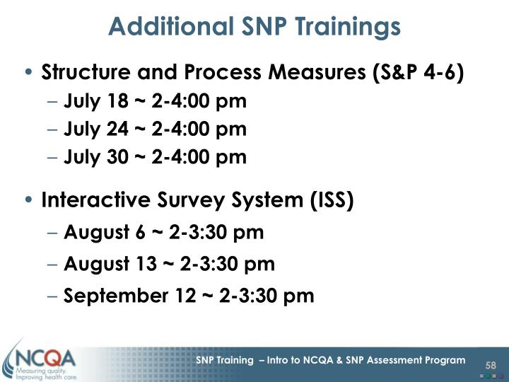 Additional SNP Trainings