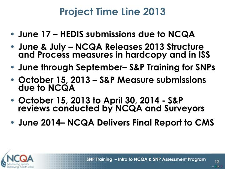 Project Time Line 2013