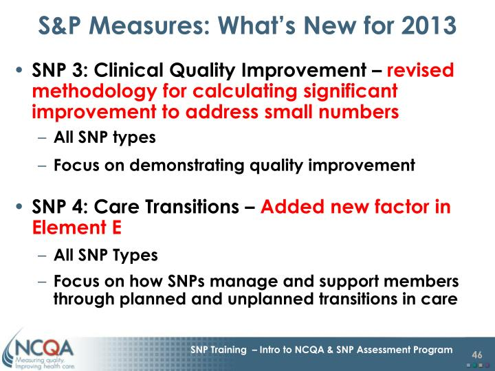 S&P Measures: What's New for 2013