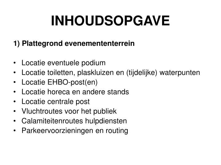 INHOUDSOPGAVE