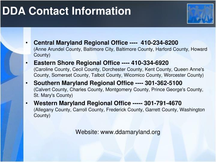 DDA Contact Information