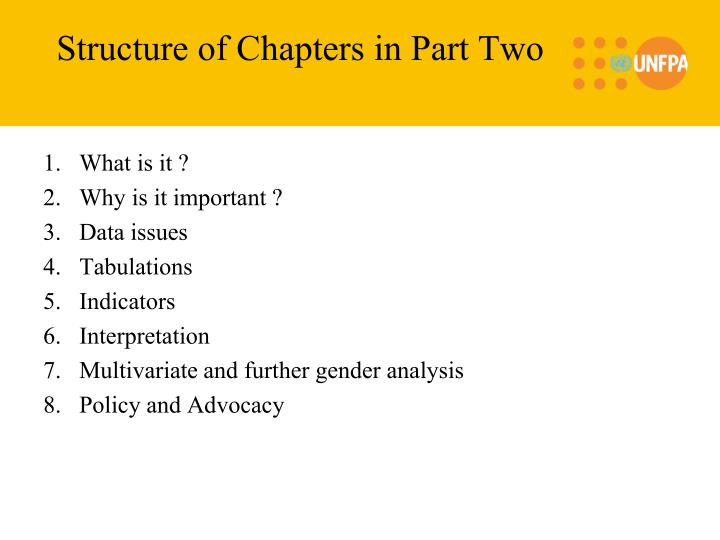 Structure of Chapters in Part Two