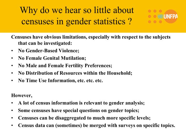 Why do we hear so little about censuses in gender statistics