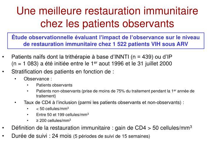 Une meilleure restauration immunitaire