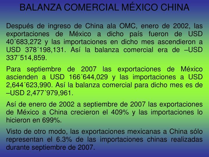 BALANZA COMERCIAL MÉXICO CHINA