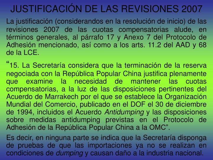 JUSTIFICACIÓN DE LAS REVISIONES 2007