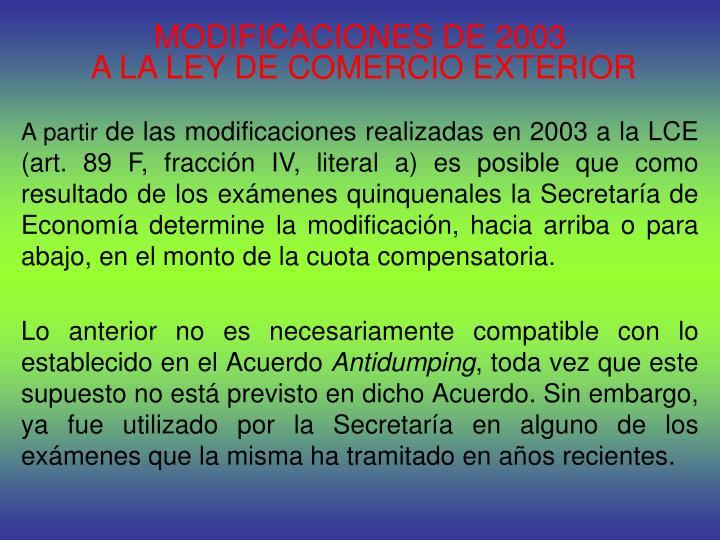 MODIFICACIONES DE 2003