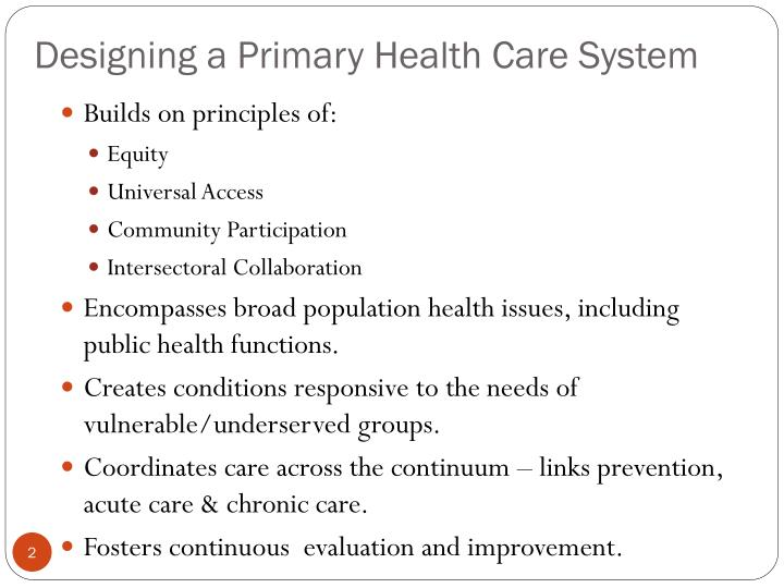 Designing a primary health care system