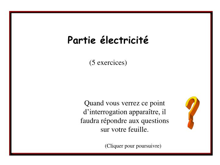 partie lectricit 5 exercices n.