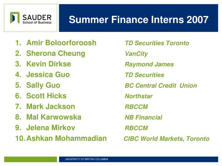 Summer Finance Interns 2007