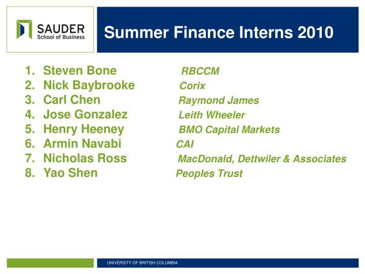 Summer Finance Interns 2010