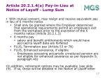 article 20 2 1 4 a pay in lieu at notice of layoff lump sum