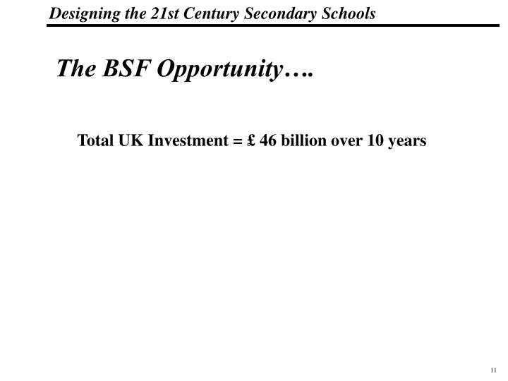 The BSF Opportunity….