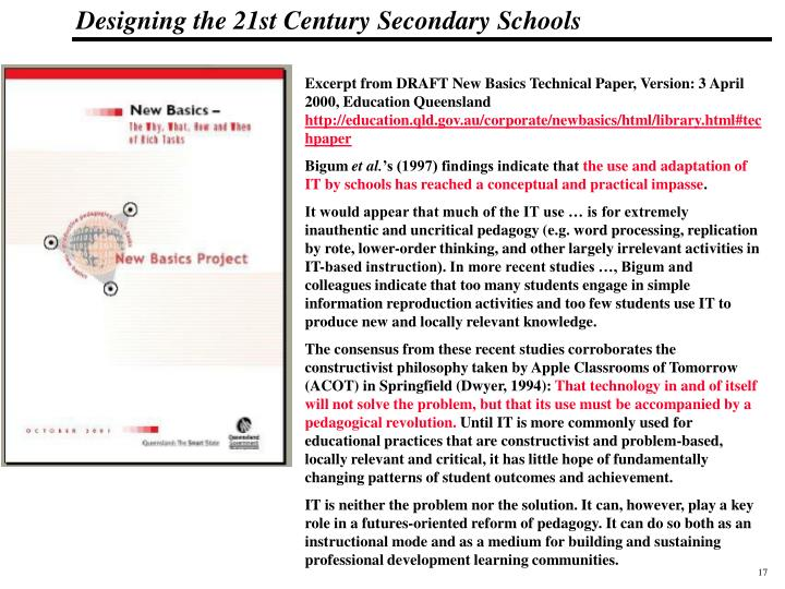 Excerpt from DRAFT New Basics Technical Paper, Version: 3 April 2000, Education Queensland