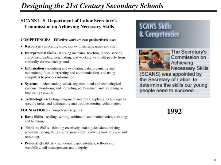 SCANS U.S. Department of Labor Secretary's Commission on Achieving Necessary Skills