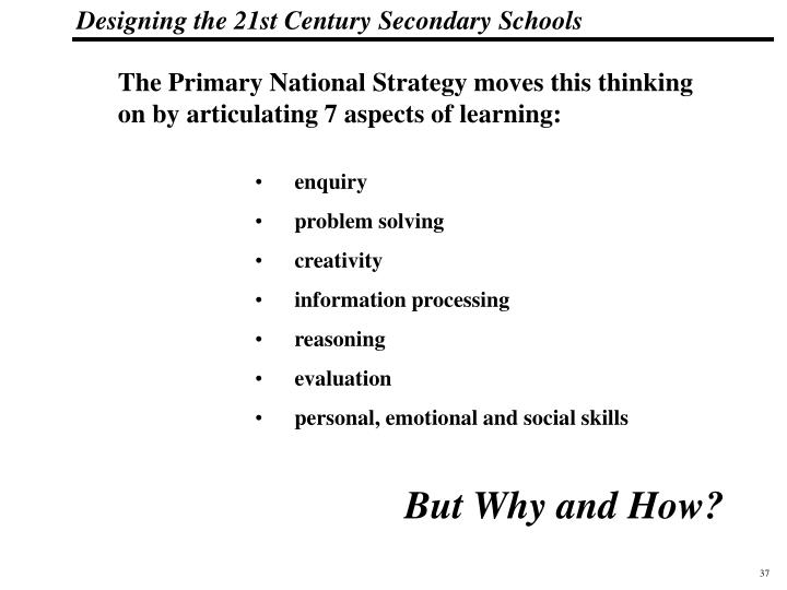 The Primary National Strategy moves this thinking on by articulating 7 aspects of learning: