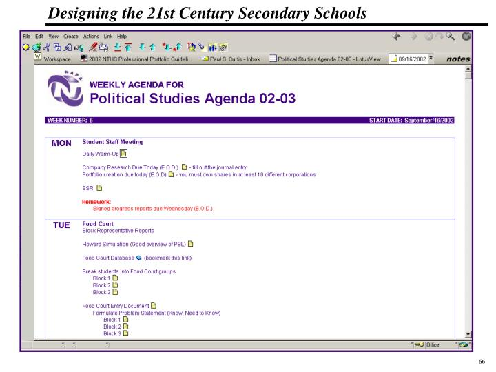 Teachers enter activities for each day including links to resources and homework assignments.