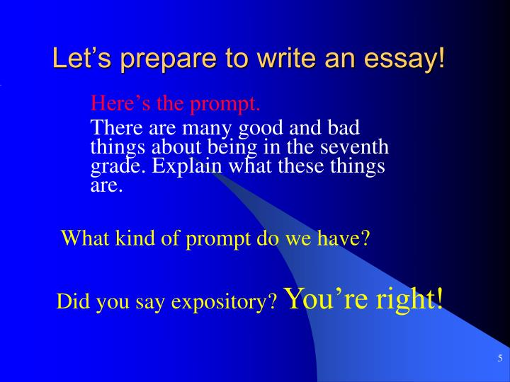 Let's prepare to write an essay!