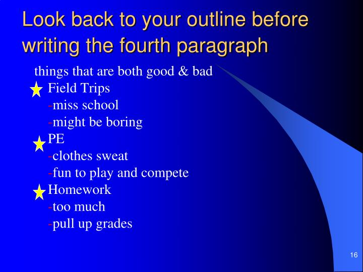 Look back to your outline before writing the fourth paragraph