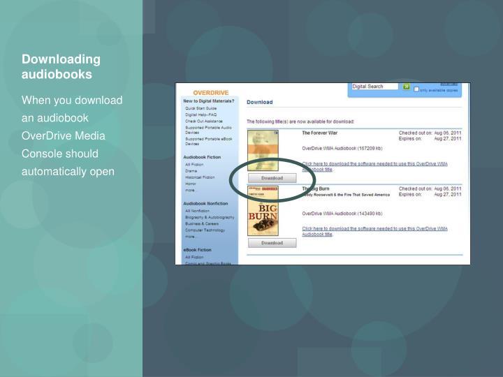 Downloading audiobooks