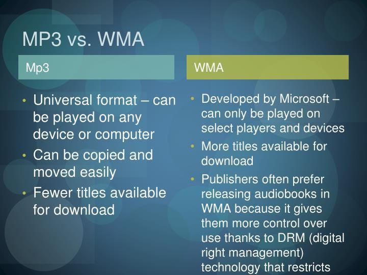 MP3 vs. WMA