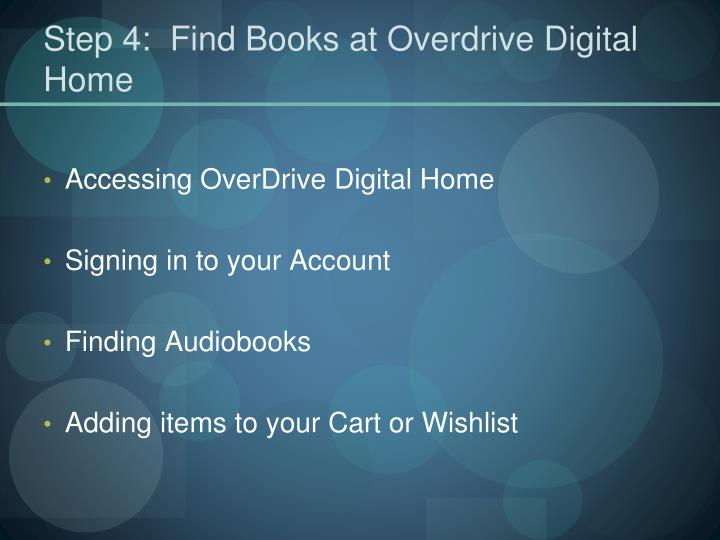 Step 4:  Find Books at Overdrive Digital Home