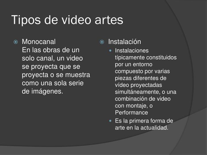 Tipos de video artes